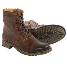 Men's Steve Madden Meyham Cool Zip Cap-Toe Lace Up Boot Brown