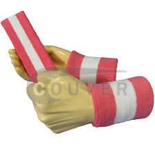 Couver Bright Pink White Bright Pink Striped Headband Wristband Set