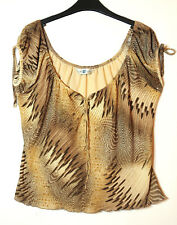 BROWN BEIGE LADIES CASUAL TOP BLOUSE STRETCH NEW LOOK SIZE 18