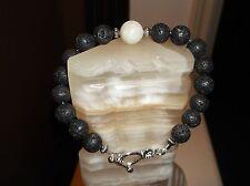 """Men's Handmade 9"""" 10 mm Black Lava Rock White Stone Cap Beaded Bracelet"""