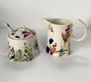 "Anthropologie  Jen Garrido ""Wildflower Study"" Ceramic Sugar Bowl & Creamer/Spoon"