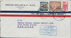 Colombia ✱ MULTI STAMP COVER - CUCUTA TO NEW YORK    [1756]