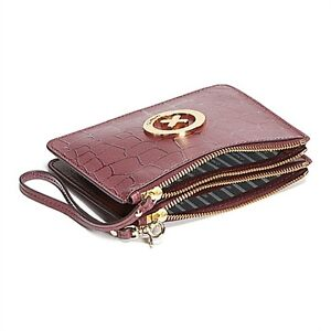 New MIMCO Sonica Duo Pouch Wallet Clutch Leather Bordeaux Tags Bag