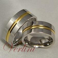8MM Mens & Womens Titanium Rings 14k Gold Matching Set Wedding Bands Jewelry