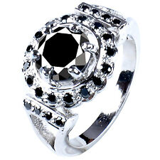 Silver Ring ( see video ) 4.51 ct Aaa Black Round Cut Solitaire.925