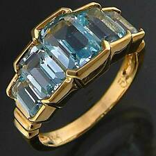 Dynamic Tiered 5 Blue TOPAZ 14k Solid Yellow GOLD ETERNITY COCKTAIL RING Sz L