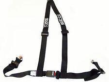 """Sparco Racing Street 3 Point Bolt-In 2"""" Seat Belt Harness (Black)"""