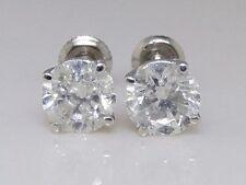 14k Mens Ladies Round Cut White Solitaire Diamond Stud Earrings 1.5 CT Screwback