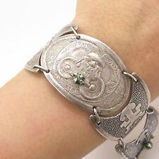 """Vtg 950 Silver Real Jade Emerald Gem Handmade Wide Tribal Link Bracelet 7"""""""