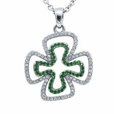 Double Luck Clover Necklace Four Leaf Pendant w. 130 Swarovski Crystals Controse