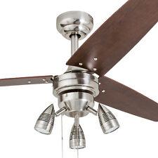 """48"""" Honeywell Wicker Park Ceiling Fan, Modern 3 Light, Satin Nickel"""