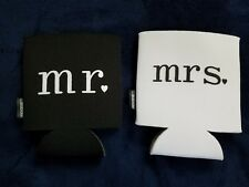 mr. and mrs. can koozies white black wedding drink coolers