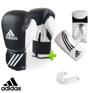 New! adidas Leather Boxing Gloves Set! Sparring Bag Gloves & Mouthguard