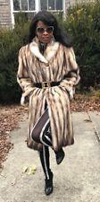 Designer genuine full length gold Fitch or german sable Fur coat jacket S-M 4-10
