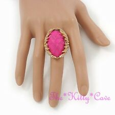 Large Hot Pink Oval Stone Gold Claw Cocktail Statement Ring w/ Swarovski Crystal