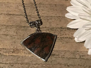 Recycled Broken Clay Jewelry, Asian Brown Pottery Pendant