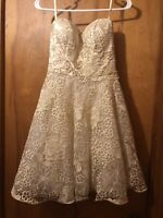Women's NWT Size 6 Glam ModCloth Dress Lacey Formal Prom Party Gold Strapless