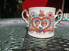 Princess Lady Diana & Charles Dual Handle Loving Cup Mug Commemorate 1981