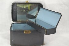 "vintage suitcase travel cosmetic make up case 12 x 8""  antique retro 1950"