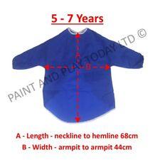 Childrens Kids Waterproof Apron Smock Painting Art Craft - Blue - Choose Size