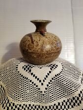 Vintage Pottery Hand Made Vase with Copper Wire and Beads Around Neck