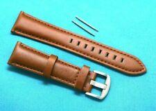 22mm Brown Leather Replacement Watch Strap Silver Matte Buckle - Fossil 22 Mens