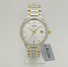 Bulova 98B107 Two Tone Silver Dial Date Classic Mens Watch
