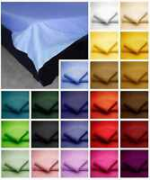 Luxury  Polycotton Plain Dyed Flat Bed Sheets Single Double King Super King