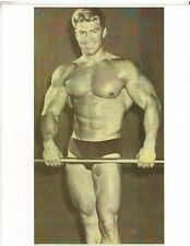 bodybuilder Larry Scott Relaxed Standing Holding Bar Bodybuilding Photo B&W