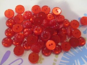 LOT OF 50 RED COLOR 3/8 INCH 2 HOLE BUTTONS, NEW