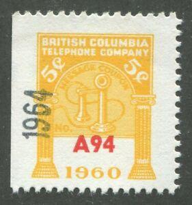 CANADA REVENUE BCT202 WATERMARKED BRITISH COLUMBIA TELEPHONE FRANK