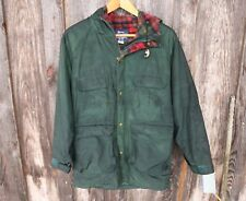 Vintage Woolrich Men's M Green Hooded Snap & Zip Front 3/4 Wool Lined Jacket USA