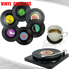 6 Pack Cup Pad Vinyl Coasters Retro Disk Coaster with Holder For Table Cd Decor