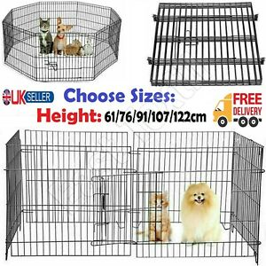8 Panel Pet Cage Metal Playpen Dog Cat Rabbit Play Pen Wire Run Fence Enclosures