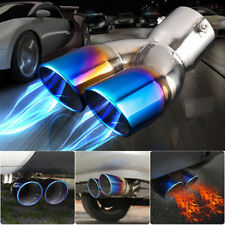 Car Dual Exhaust Tail Pipe Muffler Tip Bluing Chrome Stailess Steel No Fading