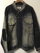 Men's Akademiks 100% Cotton Full Zip Denim Jean Jacket Size 3XL
