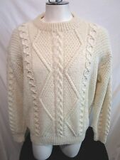 VTG Handmade Ireland Ivory Wool Thick Cable Knit Fishermans Sweater Men Size L