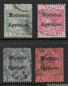Morocco Agencies, Gibraltar overprinted, QV & KEVII, 4 values, used (listed).