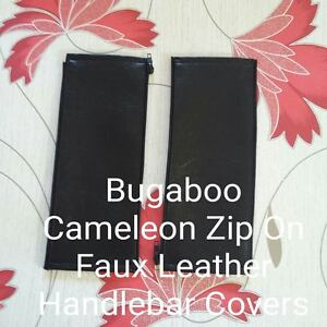 x2 Faux Leather Zip On Handlebar Covers For  Bugaboo Cameleon 1,2&3
