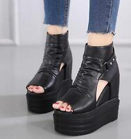 Womens Black Open Toe Hollow Roman Sandals Creeper High Wedge Platform Shoes New
