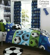 Catherine Lansfield Football Blue Quilt Cover Boys Girls Bedding Set # FREE P&P