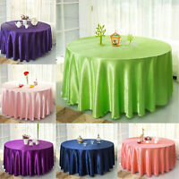 228cm Round Satin Tablecloth Banquet Table Cover Cloth Wedding Party Decoration