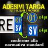 Adesivi Targa Provincia & Anno 2001 (4ant / 4post. sfondo trasparente) Auto&Moto