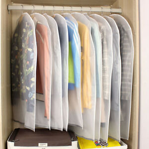 6x Polythene Clear Garment Covers Dress Suit Coat Protector Dustproof Zip Bag UK