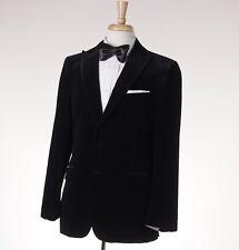 NWT $2395 BELVEST Gray-Black Patterned Peak Lapel Velvet Blazer 38 R Sport Coat