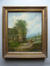 ancien tableau huile sur toile, paysage, personnages, signé A Vickers, XIX