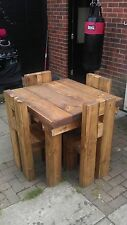 HANDMADE SQUARE RUSTIC NATURAL CHUNKY SOLID WOOD DINING/GARDEN TABLE & 4 CHAIRS