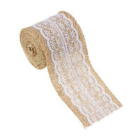 1 Metre Of Natural Hessian Ribbon With Lace Detai (6Cm) P5I2