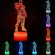 Iron Man 3D Illuminate LED Night Lights 7 Color Touch Table USB Lamp Kids Gifts