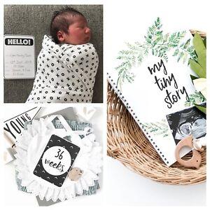 Monochrome Milestone Cards Set + Baby Journal. Pregnancy & Baby Milestone Cards